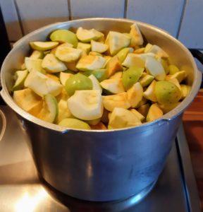 Äpfel in grobe Stücke schneiden